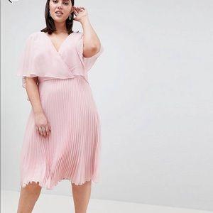 ASOS Curve MIDI dress pleat skirt flutter sleeves